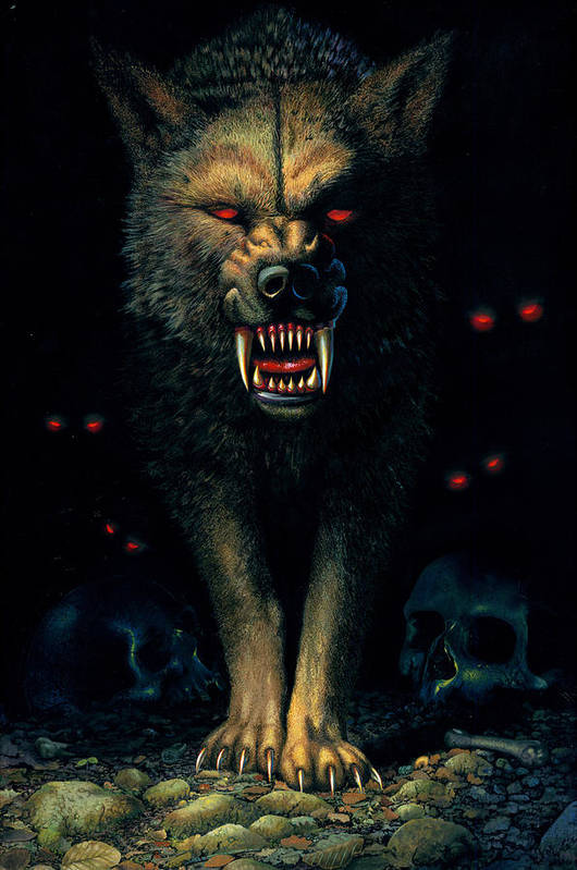 Aggressive Print featuring the photograph Demon Wolf by MGL Studio - Chris Hiett