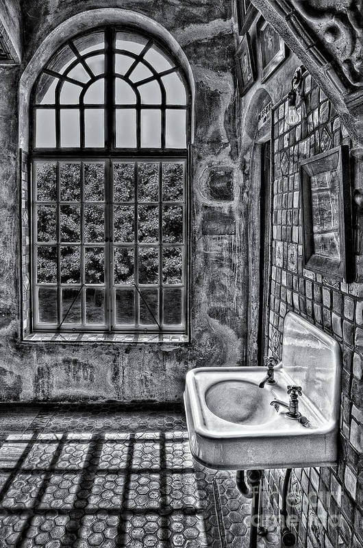 Byzantine Print featuring the photograph Dormer Bathroom Side View Bw by Susan Candelario