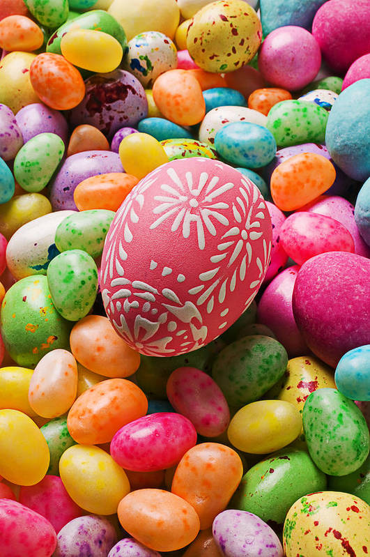 Easter Print featuring the photograph Easter Egg And Jellybeans by Garry Gay