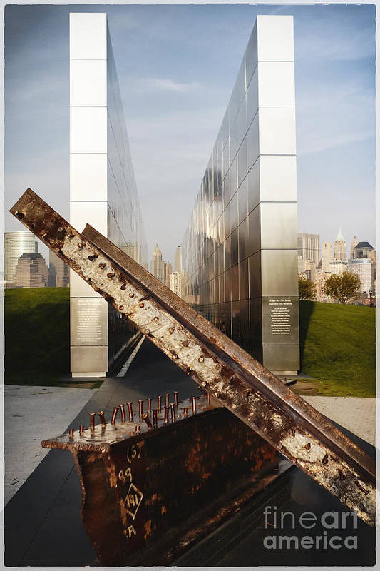 Empty Sky Print featuring the photograph Empty Sky New Jersey September 11th Memorial by George Oze