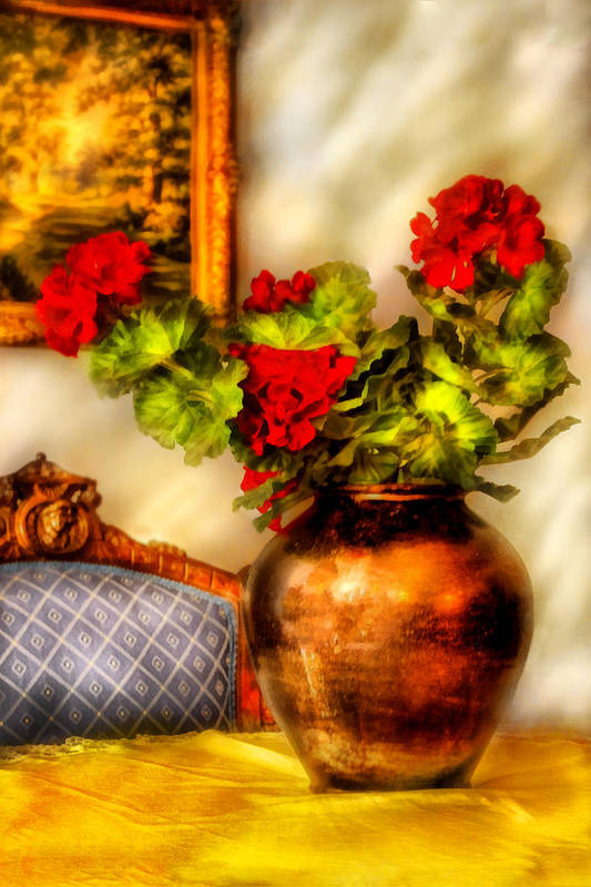 Savad Print featuring the photograph Flower - Geraniums On A Table by Mike Savad
