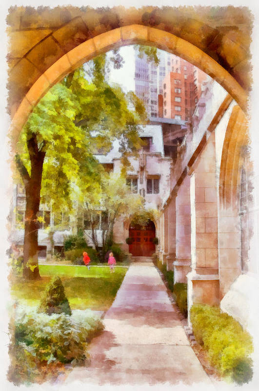 Churchyard Print featuring the painting Fourth Presbyterian - A Chicago Sanctuary by Christine Till