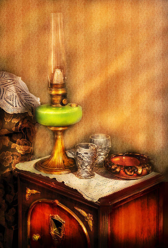 Savad Print featuring the photograph Furniture - Lamp - The Gas Lamp by Mike Savad
