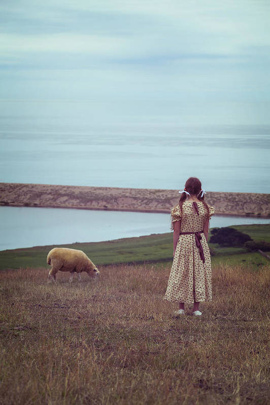 Girl Print featuring the photograph Girl With A Sheep by Joana Kruse