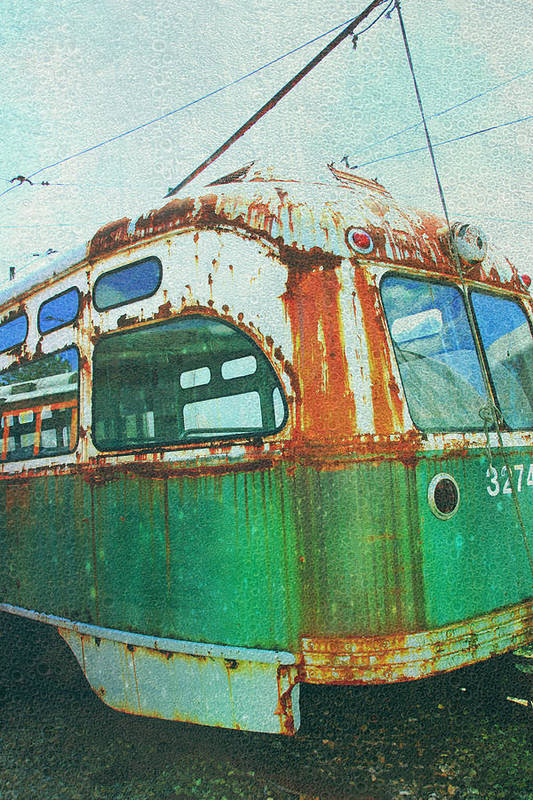Green Trolley Print featuring the photograph Going Green by Sheryl Bergman