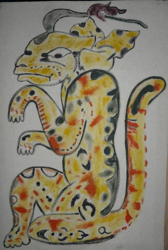 Mayan Print featuring the painting Gran Jaguar by Juan Francisco Zeledon