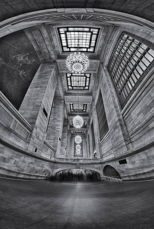 New York City Print featuring the photograph Grand Central Corridor Bw by Susan Candelario