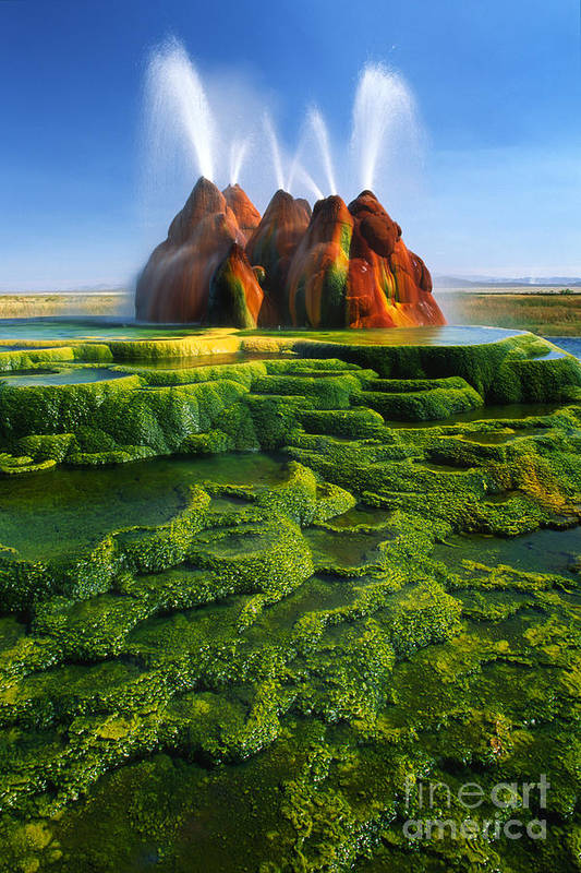America Print featuring the photograph Green Fly Geyser by Inge Johnsson