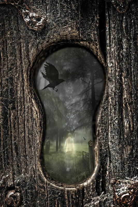 Ghostly Print featuring the photograph Halloween Keyhole by Amanda And Christopher Elwell