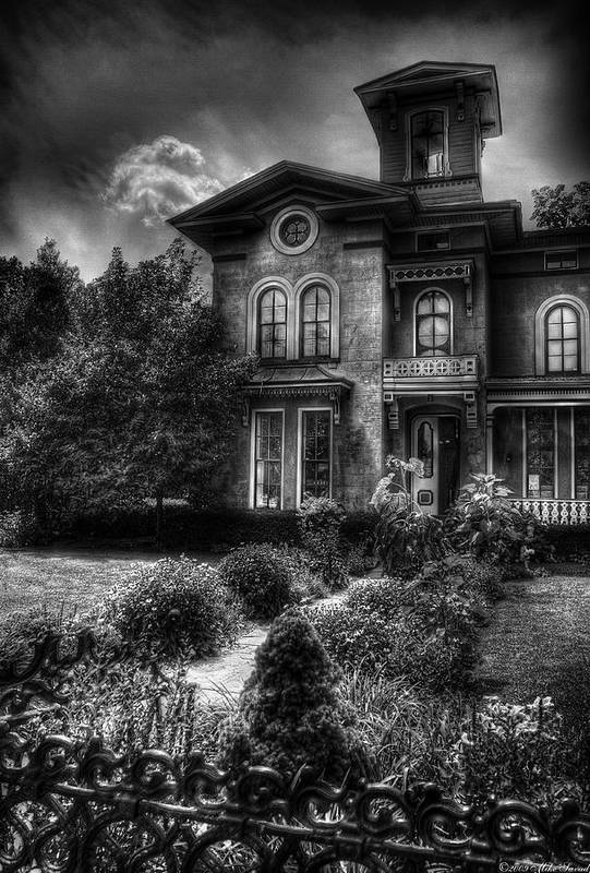 Hdr Print featuring the photograph Haunted - Haunted House by Mike Savad