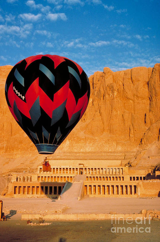 Travel Print featuring the photograph Hot Air Balloon Over Thebes Temple by John G Ross