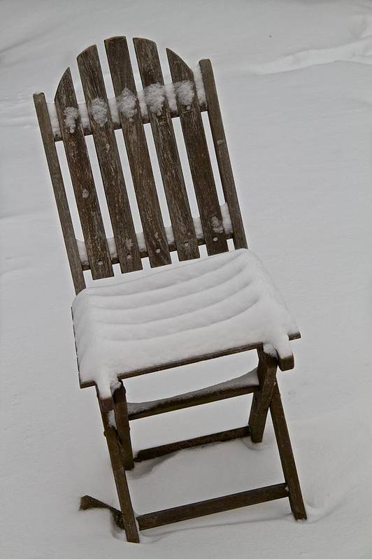 Chair Print featuring the photograph In The Cold by Odd Jeppesen