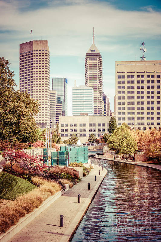 1960s Print featuring the photograph Indianapolis Skyline Old Retro Picture by Paul Velgos