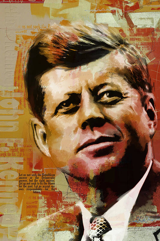 Jfk Print featuring the painting John F. Kennedy by Corporate Art Task Force
