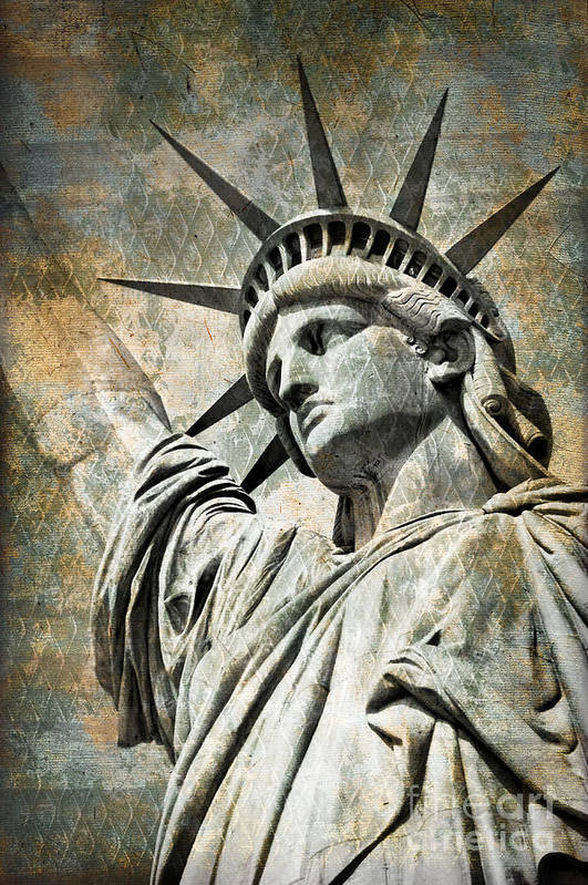 Statue Of Liberty Print featuring the photograph Lady Liberty Vintage by Delphimages Photo Creations