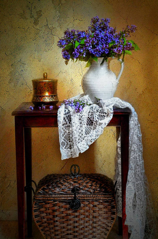 Still Life Print featuring the photograph Lilacs And Lace by Diana Angstadt
