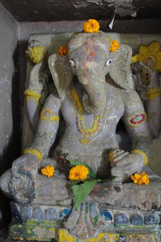 Lord Ganesha At Shiv Temple Print featuring the sculpture Lord Ganesha by Makarand Kapare
