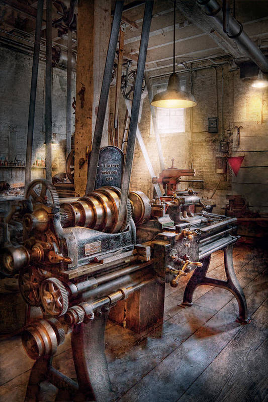 Machinists Print featuring the photograph Machinist - Fire Department Lathe by Mike Savad
