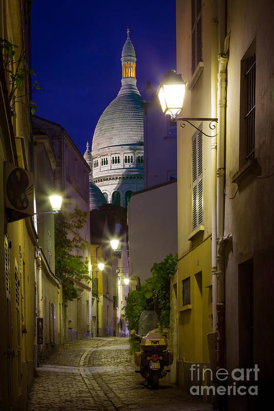 Christianity Print featuring the photograph Montmartre Street And Sacre Coeur by Inge Johnsson