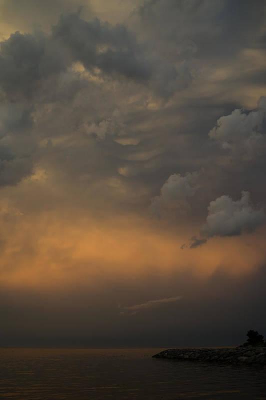 Cloud Print featuring the photograph Moody Storm Sky Over Lake Ontario In Toronto by Georgia Mizuleva