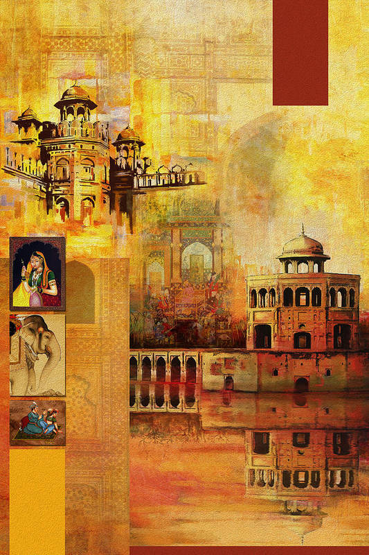 Pakistan Print featuring the painting Mughal Art by Catf
