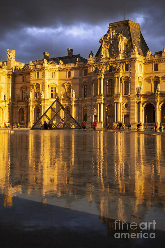 Architectural Print featuring the photograph Musee Du Louvre Sunset by Brian Jannsen