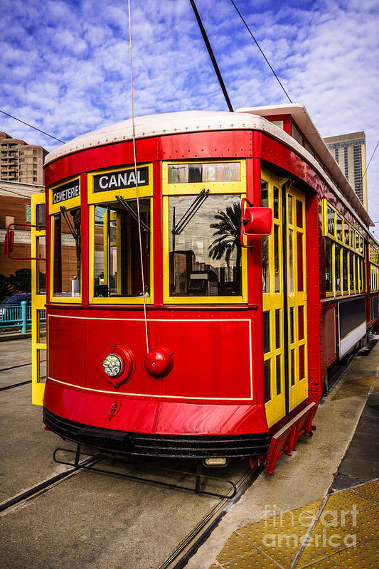 America Print featuring the photograph New Orleans Streetcar by Paul Velgos