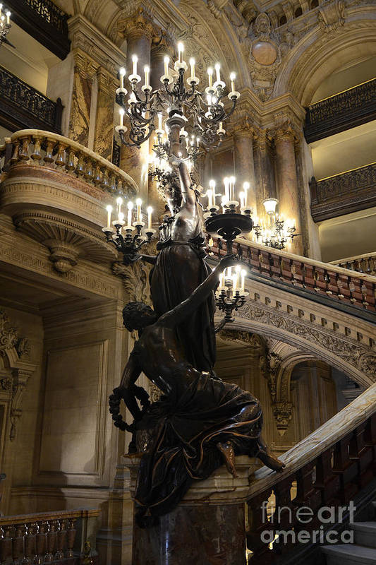 Paris Opera Garnier Print featuring the photograph Paris Opera House Grand Staircase And Chandeliers - Paris Opera Garnier Statues And Architecture by Kathy Fornal