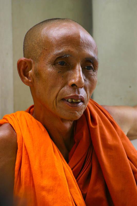 Buddhist Monk Print featuring the photograph Portrait Of A Buddhist Monk Yangon Myanmar by Ralph A Ledergerber-Photography