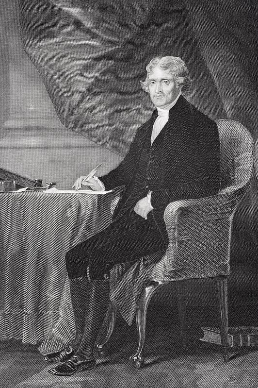 Thomas Jefferson Print featuring the drawing Portrait Of Thomas Jefferson by Alonzo Chappel