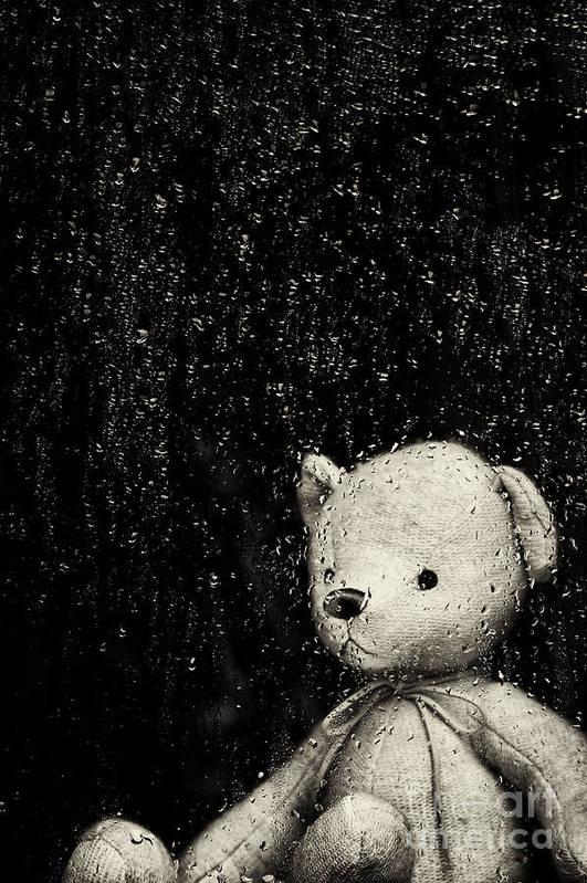 Teddy Bear Print featuring the photograph Rainy Days by Tim Gainey