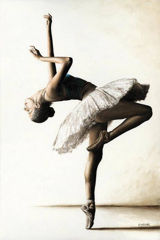 Dancer Print featuring the painting Reaching For Perfect Grace by Richard Young
