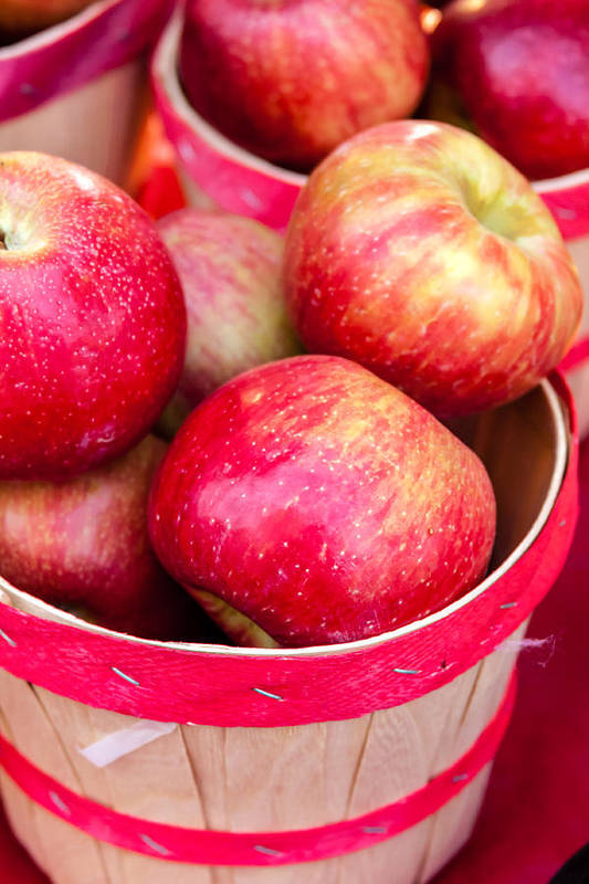 Apple Print featuring the photograph Red Apples In Baskets At Farmers Market by Teri Virbickis