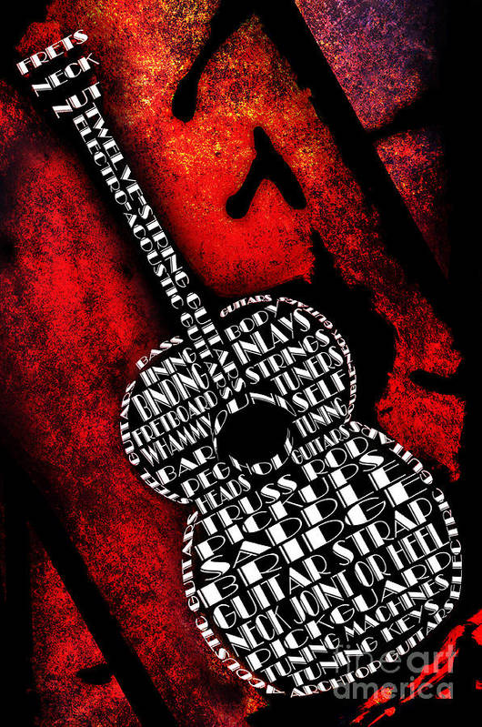 Abstract Print featuring the digital art Rockin Guitar In Red Typography by Andee Design