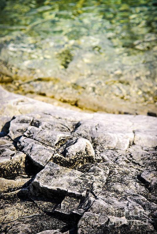 Rock Print featuring the photograph Rocks At Georgian Bay by Elena Elisseeva
