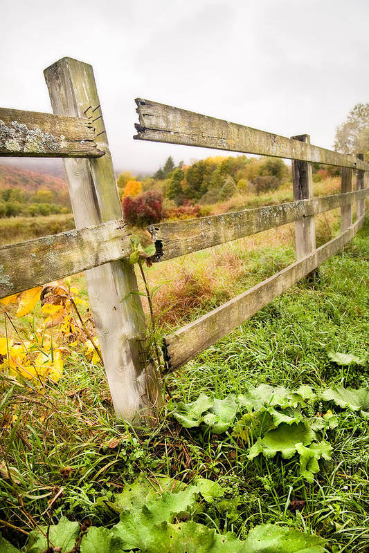 Autumn Landscape Print featuring the photograph Rustic Landscapes - Broken Fence by Gary Heller