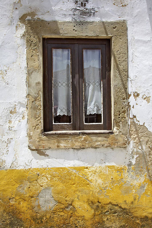 Architecture Print featuring the photograph Rustic Window Of Medieval Obidos by David Letts