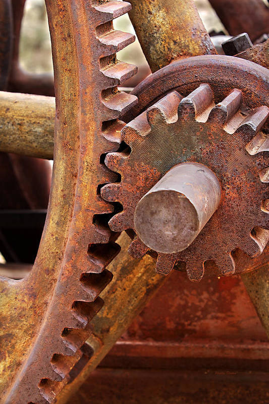 Gears Print featuring the photograph Rusty Metal Gears by Phyllis Denton