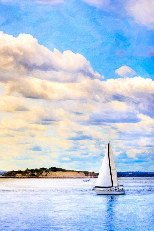Boston Harbor Print featuring the photograph Sailing On A Beautiful Day In Boston Harbor by Mark E Tisdale