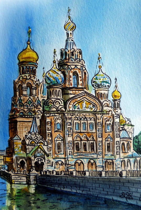 Russia Print featuring the painting Saint Petersburg Russia The Church Of Our Savior On The Spilled Blood by Irina Sztukowski