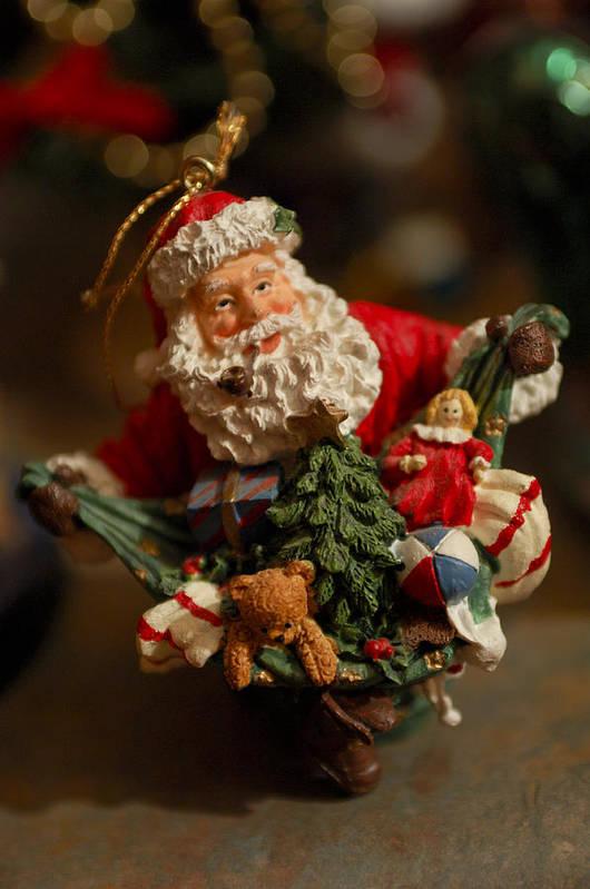 Santa Claus Print featuring the photograph Santa Claus - Antique Ornament - 04 by Jill Reger