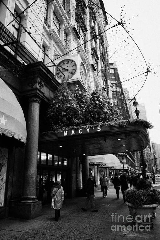 Usa Print featuring the photograph shoppers walk past entrance to Macys department store on Broadway and 34th street at Herald square by Joe Fox