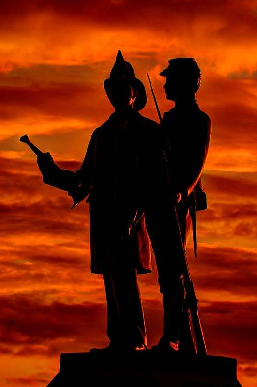 Civil War Print featuring the photograph Sky Fire - 73rd Ny Infantry Fourth Excelsior Second Fire Zouaves-b1 Sunrise Autumn Gettysburg by Michael Mazaika
