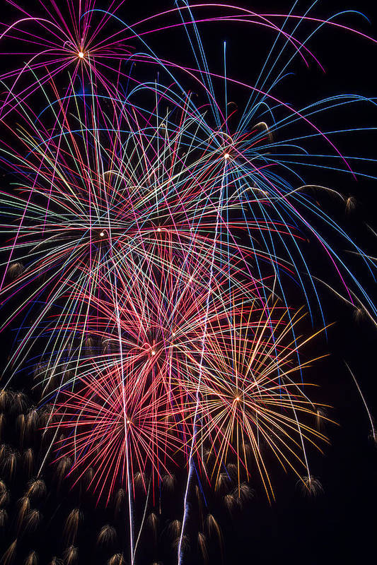 Fireworks Lights Up The Darkness Print featuring the photograph Sky Full Of Fireworks by Garry Gay
