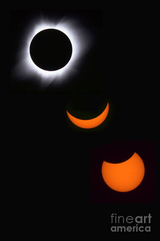 Solar Eclipse Print featuring the photograph Solar Eclipse Sequence by Francois Gohier