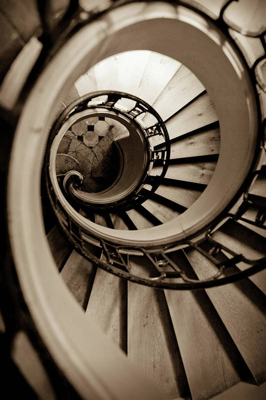B&w Print featuring the photograph Spiral Staircase by Sebastian Musial