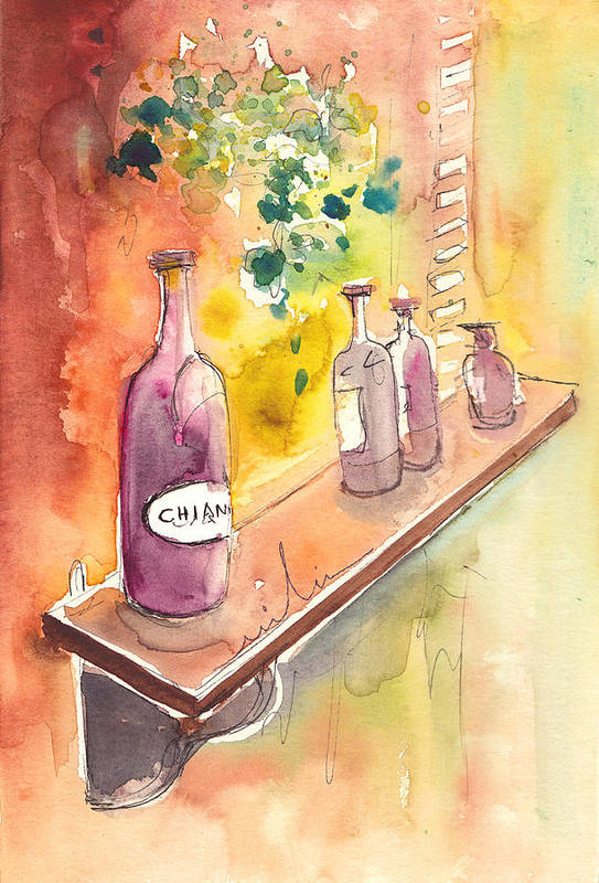 Italy Print featuring the painting Still Life In Chianti In Italy by Miki De Goodaboom