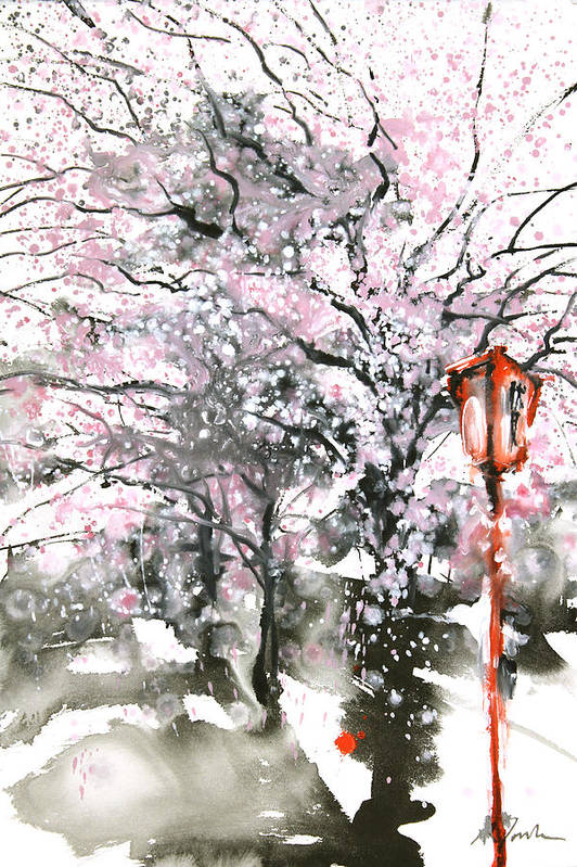 Woods Print featuring the painting Sumie No.3 Cherry Blossoms by Sumiyo Toribe