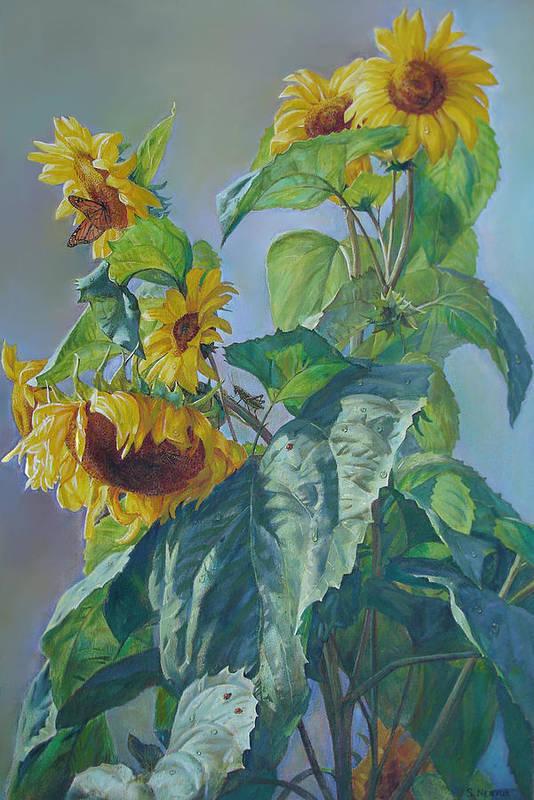Sunflower Print featuring the painting Sunflowers After The Rain by Svitozar Nenyuk