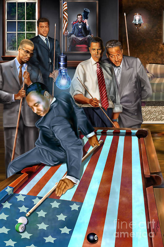 Abraham Lincoln Print featuring the painting The Game Changers And Table Runners by Reggie Duffie